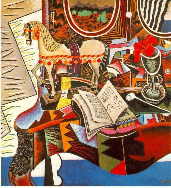 Joan Miró i Ferrà - Cavallo, pipa e fiore rosso - 1920