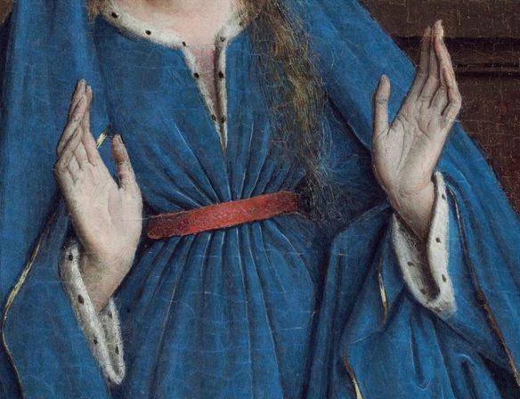 Jan van Eyck  - L'Annunciazione -  particolare delle mani di Maria